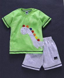 Teddy Half Sleeves T-Shirt & Shorts Set Dino Patch - Green