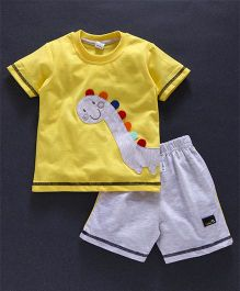 Teddy Half Sleeves T-Shirt & Shorts Set Dino Patch - Light Yellow