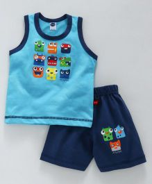 Teddy Sleeveless T-Shirt With Shorts Faces Print - Blue