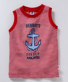 Teddy Striped Sleeveless Tee Anchor Print - Red