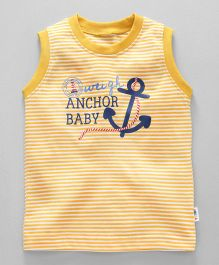 Teddy Striped Sleeveless Tee Anchor Print - Yellow