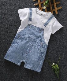 Cucumber Short Sleeves Romper Dungaree Print - Light Blue