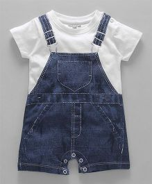 Cucumber Short Sleeves Romper Dungaree Print - Dark Blue