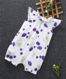 Cucumber Cap Sleeves Romper Floral Print - White Purple