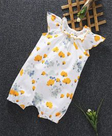 Cucumber Cap Sleeves Romper Floral Print - White Yellow