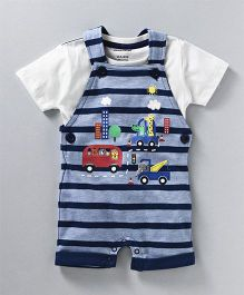 Cucumber Half Sleeves T-Shirt & Dungaree Vehicle Patch - Blue White