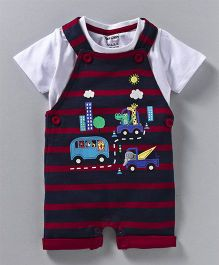 Cucumber Half Sleeves T-Shirt & Dungaree Vehicle Patch - Red White
