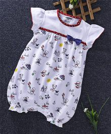 Cucumber Short Sleeves Romper Bow Applique - White