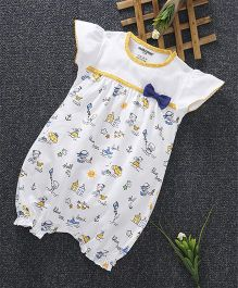 Cucumber Short Sleeves Romper Bow Applique - White & Yellow