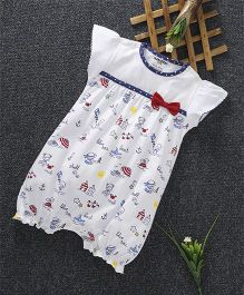 Cucumber Short Sleeves Romper Bow Applique - White & Blue