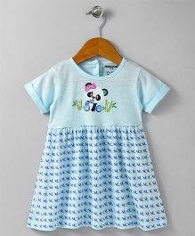 Cucumber Short Sleeves Frock Panda Print - Blue