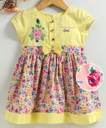 Enfance Core Floral Print Front Button Dress - Yellow