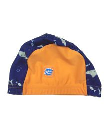 Splash About Shark Print Swimming Cap - Orange