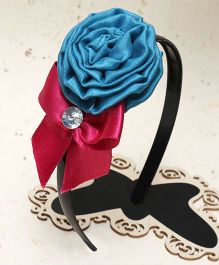 D'Chica Stone Embellished Bow & Rose Hairband - Multicolor