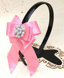 D'Chica Pearl Embellished Bow Design Hairband - Pink