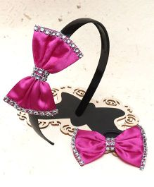 D'Chica Bow Design Hairband & Hair Rubber Set - Fuschia