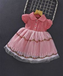 Little Kangaroos Flutter Cap Sleeves Frock With Floral Embroidery - Pink