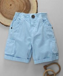 Little Kangaroos Solid Color Shorts With Turn Up Hem - Sky Blue