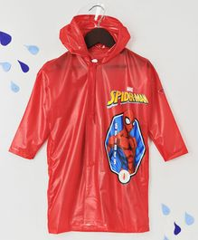 Babyhug Full Sleeves Hooded Raincoat Spider Man Print -  Red