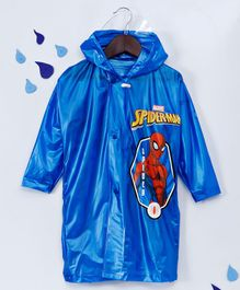 Babyhug Full Sleeves Hooded Raincoat Spider Man Print - Blue