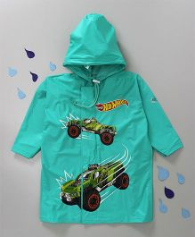 Babyhug Hooded Raincoat Hot Wheels Print - Green