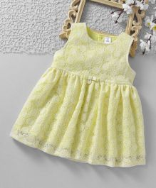 ToffyHouse Sleeveless Frock All Over Floral Design - Light Yellow