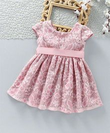ToffyHouse Short Sleeves Floral Party Frock With Grosgrain Ribbon Belt - Pink