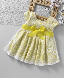 ToffyHouse Short Sleeves Party Frock With Grosgrain Ribbon Belt - Yellow
