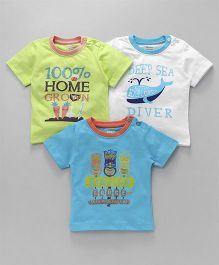Ohms Half Sleeves T-Shirt Deep Sea Diver Print Pack Of 3 - Green White Blue