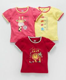 Ohms Half Sleeves Tee Giraffe & Tiger Print Pack Of 3 - Pink Yellow Red