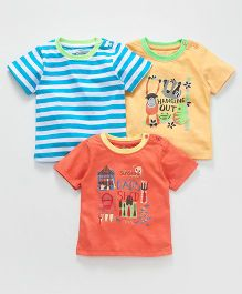 Ohms Half Sleeves T-Shirt Multi Print Pack Of 3 - Blue Yellow Orange
