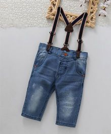 ToffyHouse Jeans With Suspender & Adjustable Elastic Waist - Blue