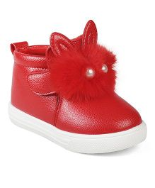 Kittens Fur & Pearls Boots - Red