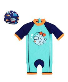 Pre Order - Awabox Piranha Printed One Piece Swimsuit - Blue