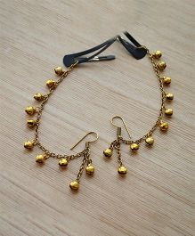 Pretty Ponytails Ethnic Bells Ghungroo Earring & Hair Accessory - Gold