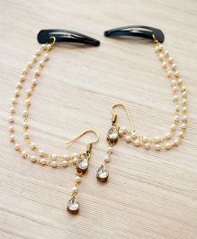 Pretty Ponytails Ethnic Pearls Earring & Hair Accessory - Gold & White