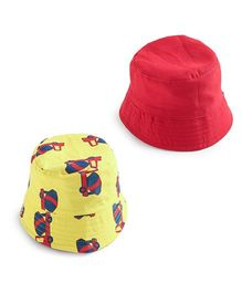 EkChidiya Cement Mixer Hand Printed Reversible Hat - Yellow & Red