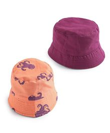 EkChidiya Octopus Hand Printed Reversible Hat - Peach & Purple