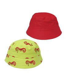 EkChidiya Seahorse Hand Printed Reversible Hat - Florecent Green & Red