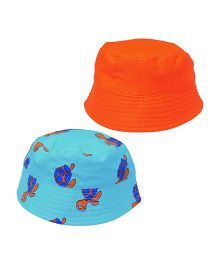 EkChidiya Turtle Hand Printed Reversible Hat - Orange & Sky Blue