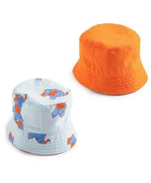 EkChidiya Elephant Handprinted Reversible Hat - Light Blue & Orange