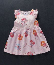 Child World Cap Sleeves Princess Print Frock - Pink