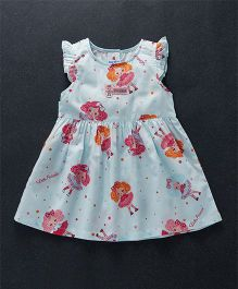Child World Cap Sleeves Princess Print Frock - Blue