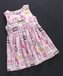 Child World Sleeveless Frock Multi Print - Pink