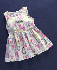 Child World Sleeveless Frock Multi Print - Cream