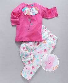 Babyhug Full Sleeves Tee And Leggings Floral Patch - White Pink