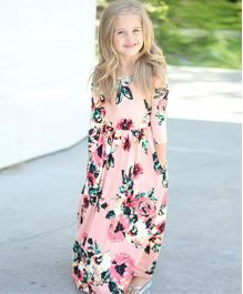 Pre Order - Awabox Floral Print Long Sleeved Maxi Dress - Pink