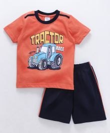 Taeko Half Sleeves T-Shirt & Shorts Set Tractor Print - Orange