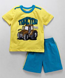 Taeko Half Sleeves T-Shirt & Shorts Set Tractor Print - Yellow