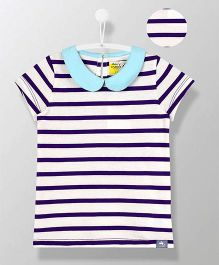 Cherry Crumble California Peter Pan Collar Striped Top - White & Blue